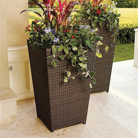 outdoor large plant pots brantley woven planter large frontgate contemporary outdoor pots and planters by frontgate