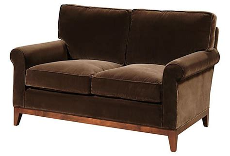Rolled Arm Settee by Beverly Sofa From Barclay Butera Cotton Velvet Rolled