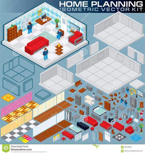 3d home kit design works isometric home plan 3d vector creation kit stock vector image 62048569