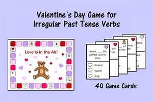 Valentine's Day Game for Irregular Past Tense Verbs ...