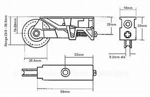Pair Sliding Patio Door Steel Rollers 32mm Wheels Srz
