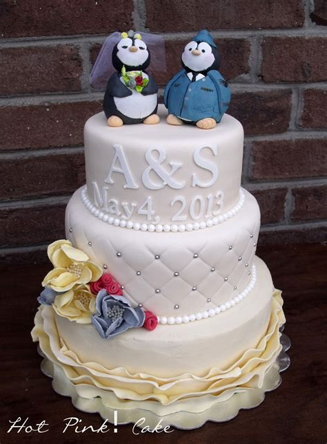 hot pink cakes vintage air force wedding cake