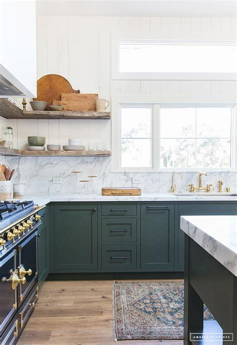 hunter green kitchen transitional kitchen