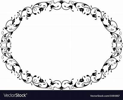 Oval Frame Floral Vector Oriental Ornamental Clipart