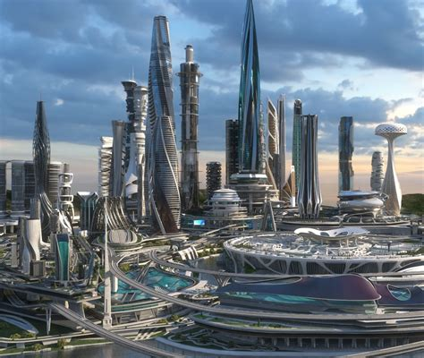 3D model Central business district Future city | CGTrader