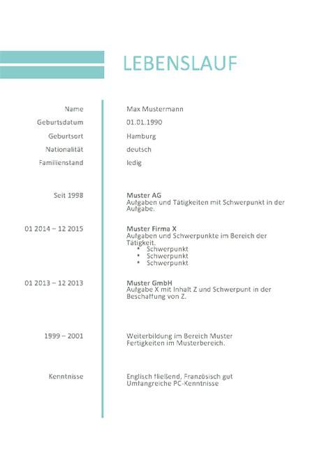 Lebenslauf Muster Kostenlos 2016 by Bewerbung Muster Lebenslauf 2016 Muster Und Vorlagen