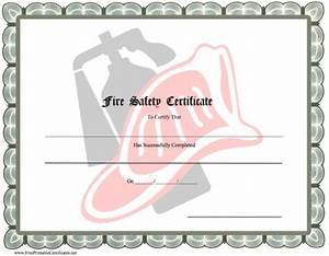 a printable fire safety certificate with a gray border and With fire safety certificate template