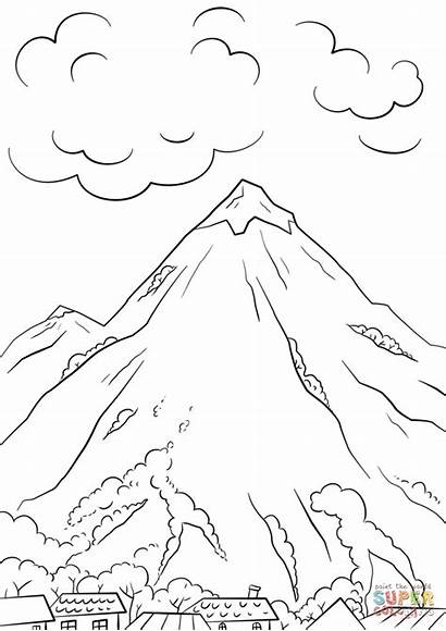 Coloring Mountain Pages Scene Printable Paper Drawing