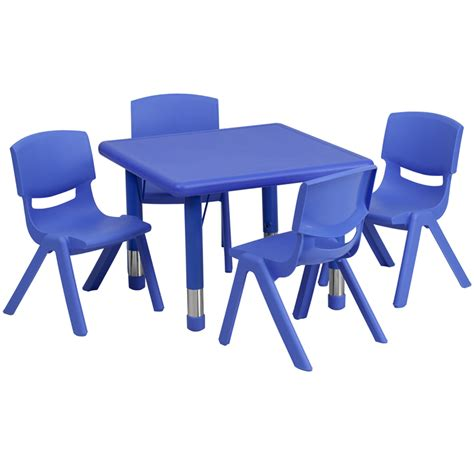 24 square blue plastic height adjustable activity table
