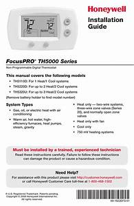 Honeywell Focuspro Th5000 Series User Manual