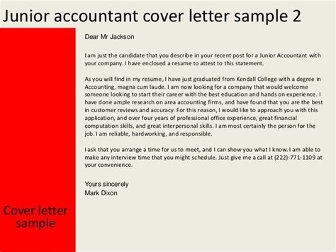 junior accountant cover letter  experience