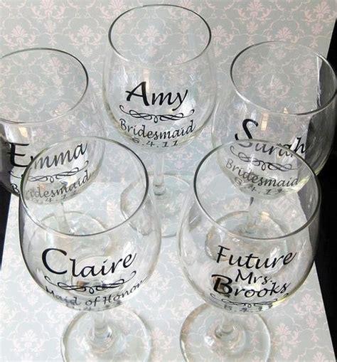 diy wedding bride  bridesmaid wine glasses vinyl decals