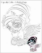 Coloring Pop Cupcake Dead Printable Pdf Skull Adult Digi Visit Cutie Retro Sugar sketch template