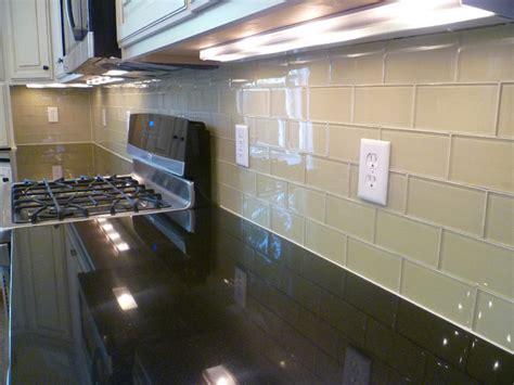 glass subway tile kitchen backsplash contemporary