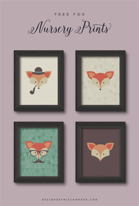 poster chambre bebe free fox nursery prints designs by miss mandee