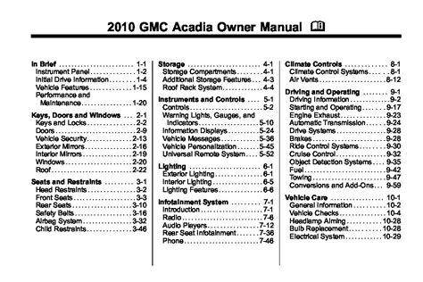 online auto repair manual 2010 gmc acadia security system 2010 gmc acadia owners manual just give me the damn manual