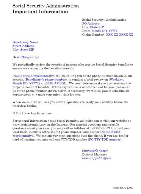 federal cover letter social security administration ssa poms nl 00701 136 ssa l502 telephone