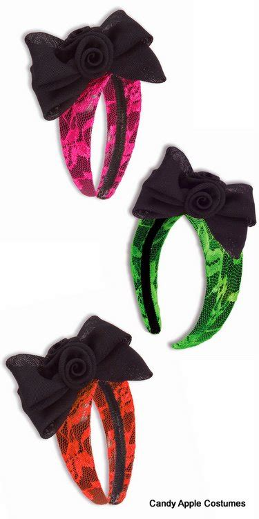 neon lace bow headband candy apple costumes women
