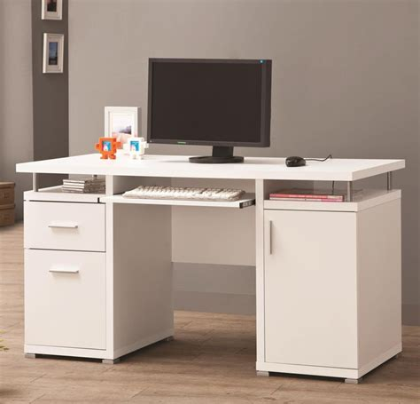 Coaster Computer Desk White by Coaster Desks White Computer Desk With 2 Drawers Cabinet