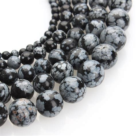 jual manik batu alam 10mm black snowflake obsidian hitam di lapak julians shop juliansshop