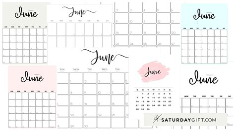 cute  printable june  calendar saturdaygift