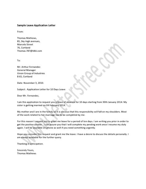 leave application letter  written   employee