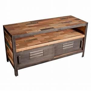 Meuble Metal Industriel Pas Cher : meuble bois et metal pas cher trendy meuble salon bois ~ Melissatoandfro.com Idées de Décoration