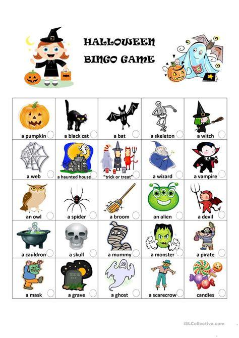 halloween bingo game english esl worksheets  distance