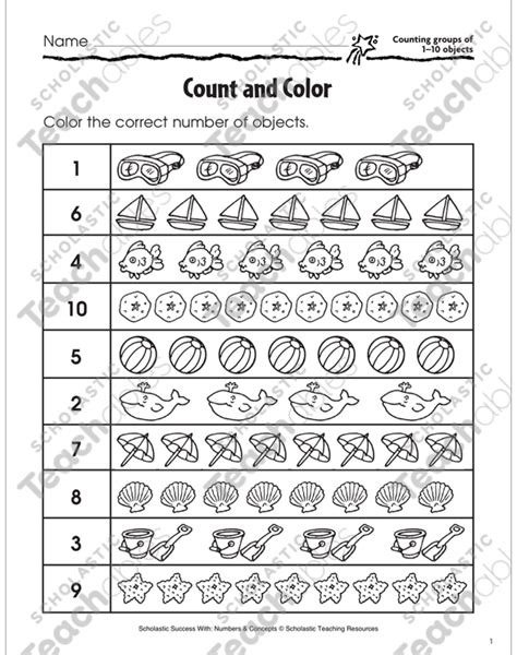 count and color counting groups of 1 10 objects