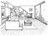Perspective Drawing Living Point Google Interior Draw Easy Simple Bedroom Drawings Designs Line Modern Studio sketch template