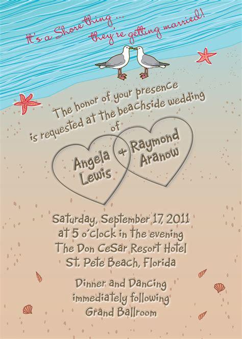 destination wedding invitation wording wedding invitation with hearts in sand seagulls and
