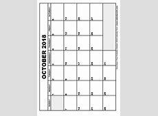October 2018 Calendar & November 2018 Calendar