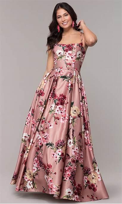 Floral Dresses Formal Pink Prom Neck Square