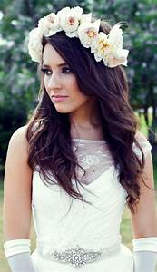 Bride's down wedding hairstyle with flower crown ...