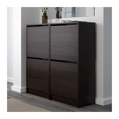 bissa shoe cabinet with 2 compartments black brown 49x93