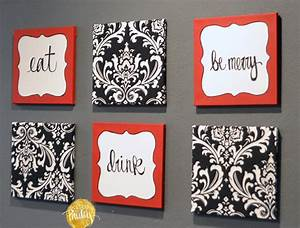 red and black damask eat drink be merry chef wall decor set With kitchen colors with white cabinets with photo frame puzzle piece wall art
