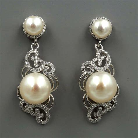 white pearl sterling silver cz dangle drop earrings