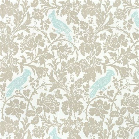 powder blue birds fabric tropical gray taupe florals