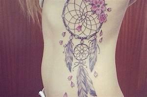 Attrape Reve Tatoo : tatouage fleur sur attrape reve plume cote femme tatoo tattoos waist tattoos et dream catcher ~ Nature-et-papiers.com Idées de Décoration