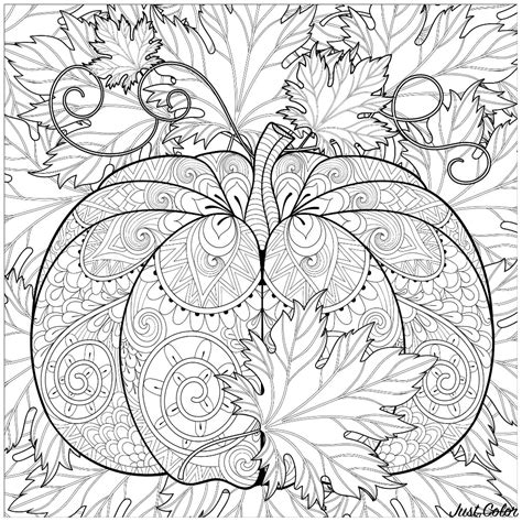 decorated pumpkin  autumn leaves halloween adult coloring pages