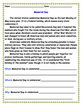 memorial day reading comprehension worksheet by teach by
