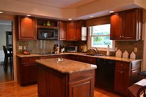 added grey granite countertop classi high gloss brown With best brand of paint for kitchen cabinets with art gallery wall ideas