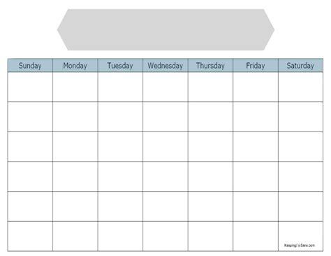 blank calendar  print keeping life sane