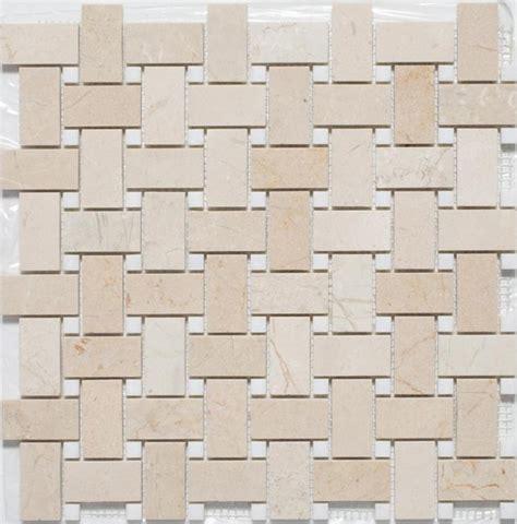 crema marfil mosaic tile crema marfil thassos basketweave mosaic tiles contemporary mosaic tile other metro by