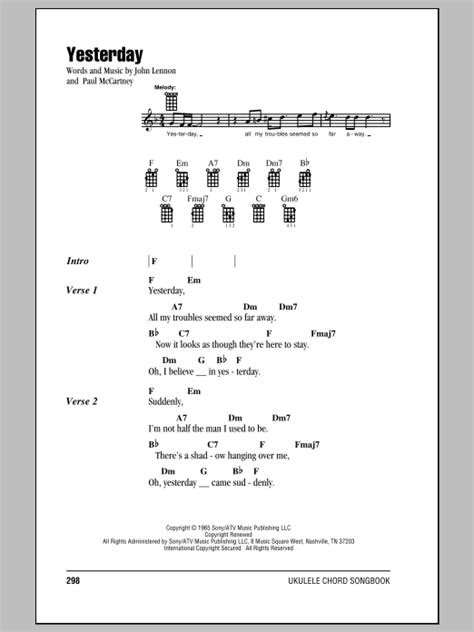 If you've never heard about this concept before, a strum is a preset pattern used to play chords on stringed instruments like the ukulele. The Beatles: Yesterday - Ukulele with strumming patterns | Sheetmusicdirect.com