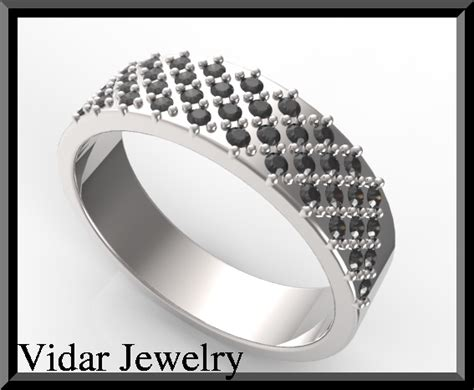 Mens White Gold Black Diamond Wedding Band