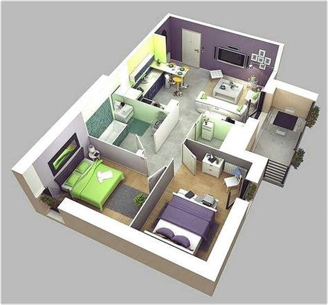 Denah Rumah 2 Kamar Tidur Minimalis 3D Rumah minimalis