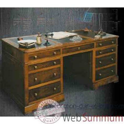 bureau marine ancien bureau amiral dessus cuir époque 19ème avec caisson pour