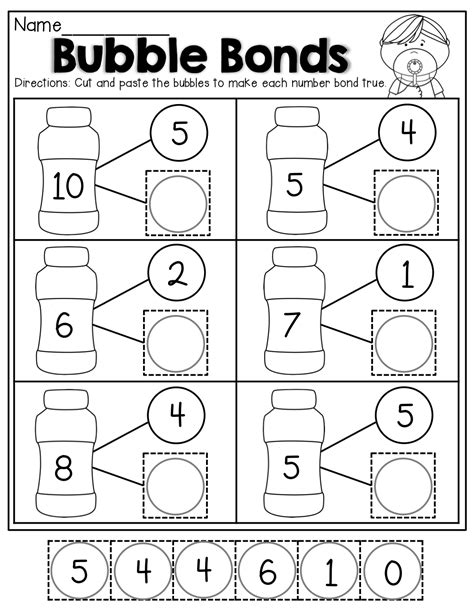 number bonds cut and paste kindergarten