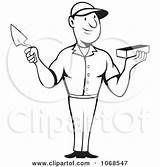 Trowel Clipart Brick Mason Holding Coloring Outlined Illustration Royalty Patrimonio Pages Pargeter Handled Bricks Beside Tool Illustrations Clipartof sketch template